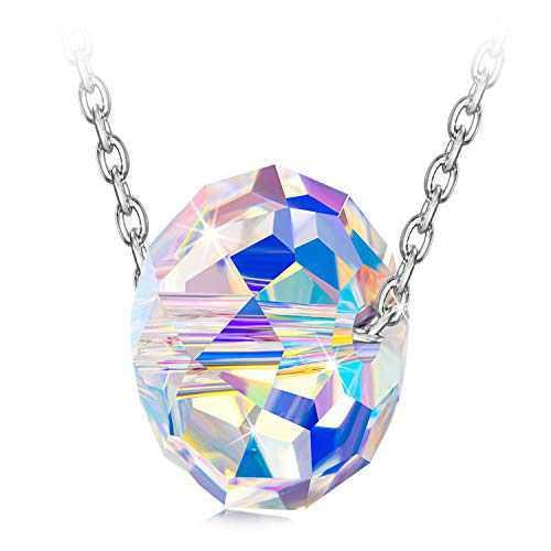 NINASUN Crystal Necklaces for Women Aurora Borealis Pendant Sterling Silver Iridescent Northern Lights Crystal Color Changing Birthday Gifts for Her Mom Wife Girls Christmas Mothers Valentines Day