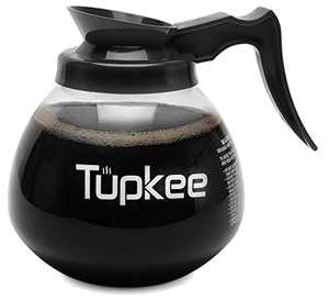 Tupkee Commercial Coffee Pot Replacement - SHATTER-RESISTANT Restaurant Glass Decanter Carafe - 64 oz 12 Cup, Black Handle / Regular, Compatible with Wilbur Curtis, Bloomfield, Bunn Coffee Pot