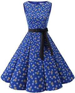 Bbonlinedress Womens Vintage 1950s Boatneck Sleeveless Retro Rockabilly Swing Cocktail Dress RoyalBlue Leaves S