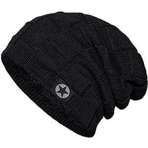 Bodvera Unisex Winter Knit Wool Warm Hat Soft Slouchy Beanie Skully Cap in 3 color, One Size, Black