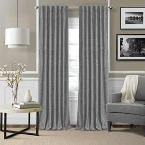 """Elrene Home Fashions 26865901160 3-in-1 Blackout Energy Efficient Lined Linen Rod Pocket Window Curtain Drape Panel, 52"""" x 95"""", Gray, 1"""