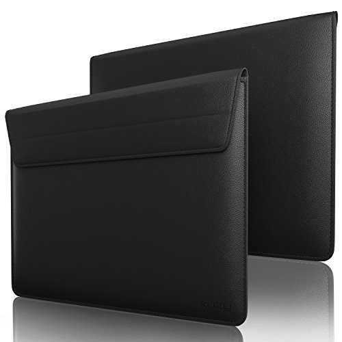 Kuzy 13 inch Laptop Sleeve Leather Case for MacBook Pro 13 inch 2020-2012, MacBook Air 13 inch Sleeve, Laptop 13.3 inch Cover Computer Notebook Bag, Black