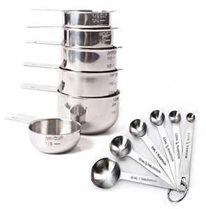Rorence Stainless Steel Measuring Cups and Spoons Set 12 pcs - One-piece 6 Measuring Cups & 6 Measuring Spoons