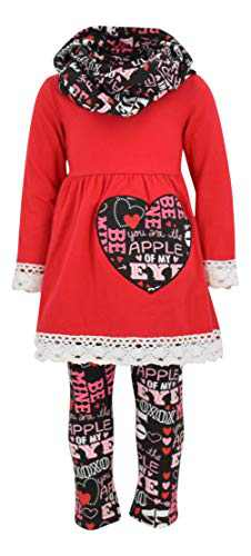 Unique Baby Girls Valentine's Day Outfit Crotchet Trim Legging Set (8/XXXL, Red)