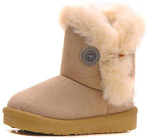 Poppin Kicks Girls Bailey Button Snow Boots Kids Winter Faux Fur Flat Shoes Beige 11.5 M US Little Kid