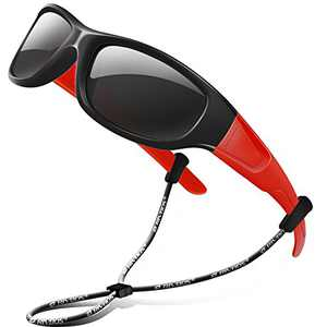 RIVBOS Kids Sunglasses Polarized UV Protection Flexible Rubber Glasses Shades with Strap for Boys Girls RBK037-Black&Red