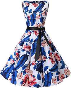 Bbonlinedress Womens Vintage 1950s Boatneck Sleeveless Retro Rockabilly Swing Cocktail Dress RoyalBlue Flower XS