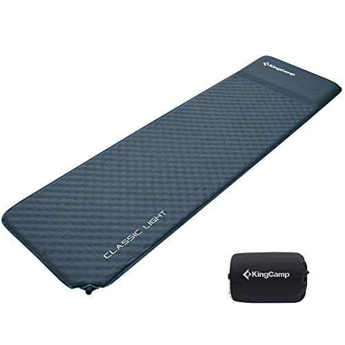 """KingCamp Self Inflating Sleeping Pad with Built-in Pillow, Camping Mattress Damp-Proof Lightweight Durable for Outdoor Camping Backpacking Hiking Single 72""""x20""""x1.2"""""""