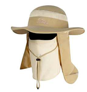 YR.Lover Outdoor UV Sun Protection Wide Brim Fishing Cap with Removable Flap Khaki