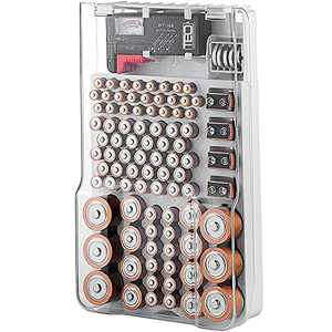 Battery Storage Organizer and Case, The Battery Organizer Hinged Clear Cover with Locking Lid, Holds 93 Batteries of Various Sizes, Includes Removable Battery Tester and Holder for Garage Organization