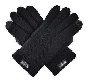 Bruceriver Ladie's Pure Wool Knit Gloves with Thinsulate Lining and Cable design Size L (Black Touchscreen)