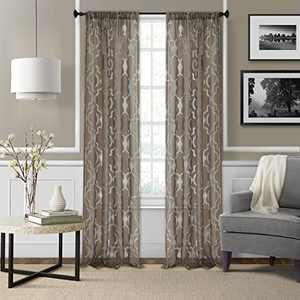 "Elrene Home Fashions Montego Burnout Trellis Sheer Window Curtain Panel, 52"" x 95"" (1, Mink"