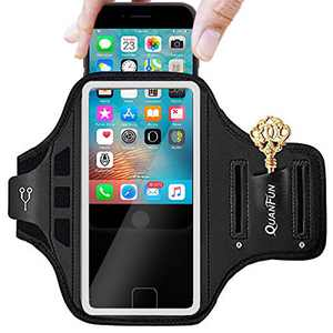 "Cell Phone Armband Case, Suitable for Smartphone Screen Size up to 6.8 inches, with Touch ID, Card Holder, Key Slot, Earphone Cord Holder Best for Sports, Yoga, Fitness and Work (Space Black, 6.5"")"