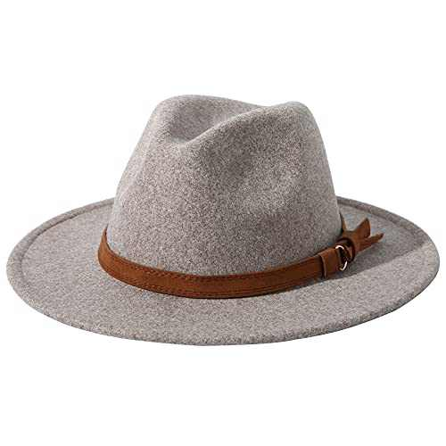 Lanzom Women Lady Felt Fedora Hat Wide Brim Wool Panama Hats with Band (01-Oatmeal)