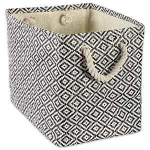 DII Geo Diamond Woven Paper Laundry Hamper or Storage Bin, Medium Rectangle, Black