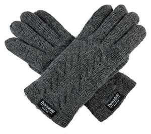 Bruceriver Ladie's Pure Wool Knit Gloves with Thinsulate Lining and Cable design Size XL (Grey)