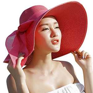 Lanzom Womens Big Bowknot Straw Hat Large Floppy Foldable Roll up Beach Cap Sun Hat UPF 50+ (Red)