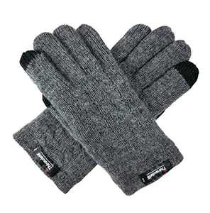Bruceriver Ladie's Pure Wool Knit Gloves with Thinsulate Lining and Cable design Size S (Grey Touchscreen)