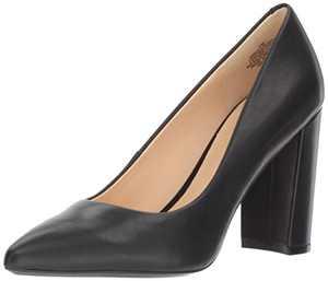 NINE WEST Women's Astoria 9x9 Pump, Black Leather, 7.5