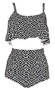 Ruffle High Waisted Soft Comfortable Tankini Floral Pin Up Bikini-KJ5476-BWT3 Black White