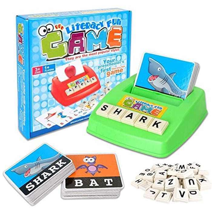 KUNEN Alphabet Letter Word Spelling Game Spell Words Board Game for Kids Preschoolers Learning Great Educational Play Set