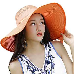 Lanzom Womens 5.5 Inches Big Bowknot Straw Hat Large Floppy Foldable Roll up Beach Cap Sun Hat UPF 50+ (Orange)