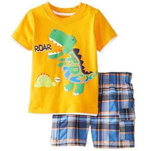 Meeyou Little Boys' Cotton Short Sleeve T-Shirt & Plaid Shorts Set(6T,Roaring Dinosaur)