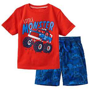 Meeyou Little Boys' Cotton Short Sleeve T-Shirt & Plaid Shorts Set(5T,Monster Trucks)