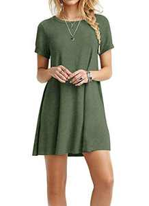 TOPONSKY Women's Casual Plain Short Sleeve Simple T-shirt Loose Dress,Ad Armygreen,Small