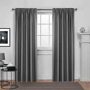 """Dreaming Casa Solid Room Darkening Blackout Curtain for Bedroom 84 Inches Long Draperies Window Treatment Grey Rod Pocket 2 Panels 42"""" W x 84"""" L"""
