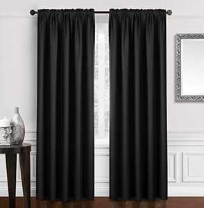 """Dreaming Casa Solid Blackout Curtain for Bedroom 84 Inches Long Draperies Window Treatment Black Rod Pocket 2 Panels 42"""" W x 84"""" L"""