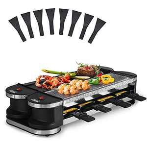 Artestia Electric Raclette Grill,1200W Portable 2 In 1 Korean Bbq Grill with Non-Stick Plate and Grill Stones, Rotatable Thermostatic for Each Grill Plate and 8 Paddles - gifts for mom