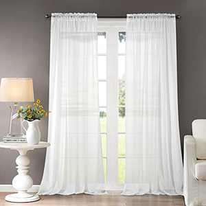 """Dreaming Casa Solid Sheer Curtains Draperies White Rod Pocket 2 Panels 52"""" W x 96"""" L"""