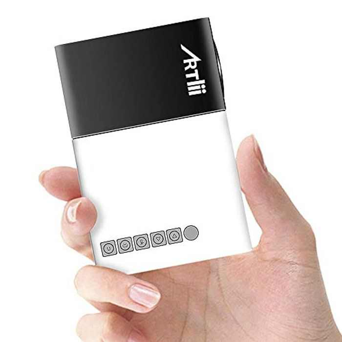 Mini Projector Artlii Portable Projector Pico Pocket Projector 60,000 Hrs Led Projector Chargeable by Power Bank Ideal for Home Outdoor Camping Travel Cartoon Movie Kids
