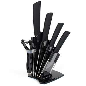 Ceramic Knife Set Kitchen Knife Cutlery Set Rust Proof Stain Resistance Ceramic Blade Set (6 Pieces Knife Set with Holder-Black2)