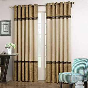 """Dreaming Casa 1 Panel Grommet Top Solid Polyester Window Curtain Treatment Beige&Brown Two Tone 42"""" W x 84"""" L"""