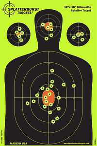"""50 Pack - 12""""x18"""" Silhouette SPLATTERBURST Shooting Targets - Instantly See Your Shots Burst Bright Fluorescent Yellow Upon Impact - Great for all firearms, rifles, pistols, AirSoft, BB & Pellet guns!"""