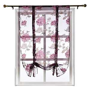 NAPEARL Sheer Tie Up Curtains for Kitchen Window, Ajustable Rod Pocket Curtain Valance with Floral Pattern, Balloon Curtains for Bathroom Living Room, 1 Piece ( 55W x 63 L, Purple )