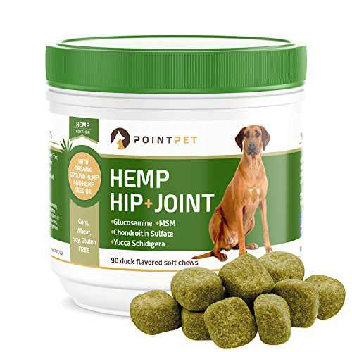 POINTPET Hemp Hip and Joint Supplement for Dogs with Hemp Oil, Glucosamine Chondroitin, MSM, Omega 3&6, Improves Mobility, Hip and Joint Aches, Reduces Inflammation, Discomfort - Dog Treats, 90 Chews