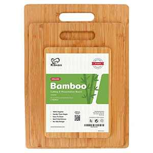 K BASIX Bamboo Cutting Board 3 Pcs Set - Premium 100% Organic Wood Cutting Board for Chopping Meat, Butcher Block, Veggies & Cheese - Natural Cutting Boards for Kitchen-Non Slip Design