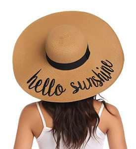 Lanzom Womens Wide Brim Straw Hat Big Floppy Foldable Roll up Cap Beach Sun Hat UPF 50+ (Style F-Hello Sunshine Khaki)