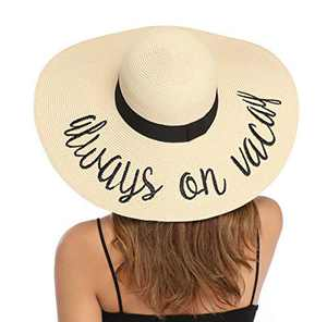 Lanzom Womens Wide Brim Straw Hat Big Floppy Foldable Roll up Cap Beach Sun Hat UPF 50+ (Style G-Always on Vacay Beige)