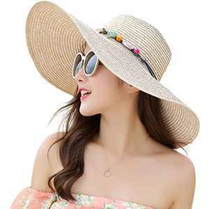 Lanzom Womens Wide Brim Straw Hat Big Floppy Foldable Roll up Cap Beach Sun Hat UPF 50+ (Style A-Khaki)