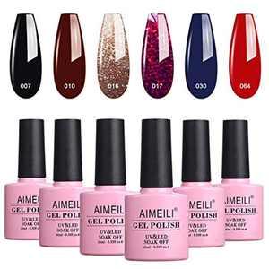 AIMEILI Soak Off UV LED Gel Nail Polish Multicolour/Mix Colour/Combo Colour Set Of 6pcs X 10ml - Kit 21