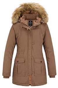 Wantdo Women's Cotton Thicken Padded Parka Winter Coat Hooded Jacket(Khaki, S)