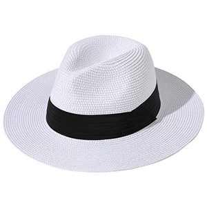 Lanzom Women Wide Brim Straw Panama Roll up Hat Fedora Beach Sun Hat UPF50+ (White)