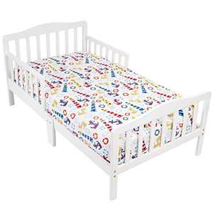 Mellanni Toddler 3 Piece Set Light-House - Includes Fitted Sheet, 2 Pillowcases Standard and Toddler - Fits Baby Crib Too - Super Soft Kids Bedding (3 Piece Todler Set, Light House)