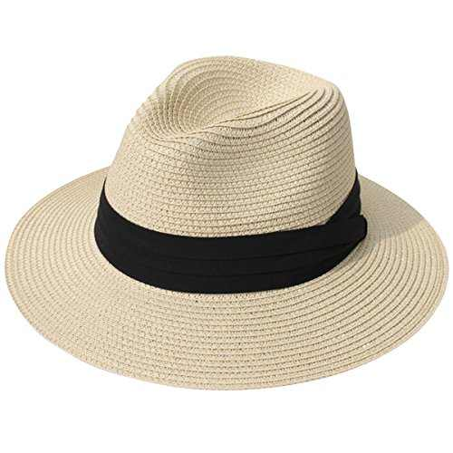 Lanzom Women Wide Brim Straw Panama Roll up Hat Fedora Beach Sun Hat UPF50+ (Khaki) One Size