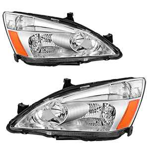 AUTOSAVER88 Headlight Assembly Compatible with 03 04 05 06 07 Accord OE Headlamp Replacement Chrome Housing Clear Lens