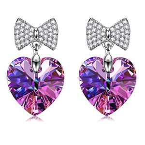 SIVERY Birthday Gifts 'Love Heart' Jewelry Women Stud Earrings with Swarovski Crystals, Earrings for Women, Gifts for Mom, Purple